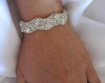 Wedding Bridal Rhinestone Crystal Bracelet Cuff with Button Closure or Ribbon
