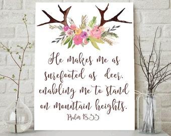 Psalm 18:33, He Makes Me Surefooted As A Deer, Scripture Print, Christian Wall Art, Christian Printable, Bible Verse Art, Scripture Wall Art