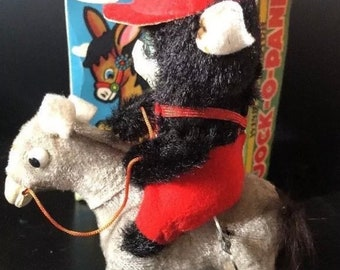 Vintage Jock o Panda Tin toy wind up mechanical Bear original box Works!!