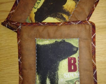 2 Pc Bear Pot Holder or Hot Pad Set