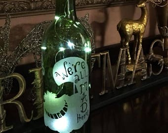 Custom Hand Etched Cheshire the Cat - Alice in Wonderland