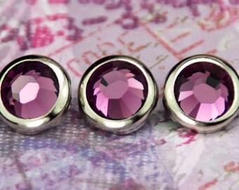 10 Amethyst Crystal Hair Snaps - Round Silver Rim Edition -- Made with Swarovski Crystal Element Rhinestones