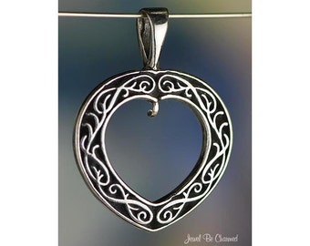 Sterling Silver Filigree Open Heart CHARM or PENDANT with Loop .925
