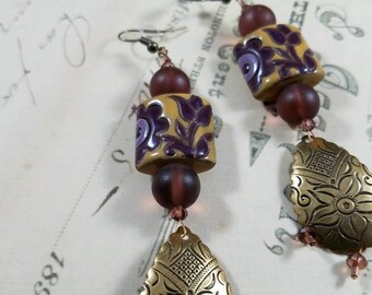 Plum and Parchment Ceramic Floral and Brass Drop Earrings