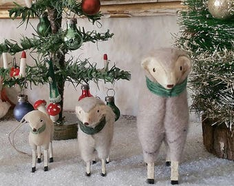 3 sweet, vintage wool sheep, sheep, lamb, Easter lamb