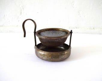 Vintage German Mesh Swivel Tea Strainer with Drip Catcher