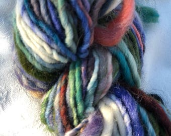 Blue Hand Spun Wool Yarn
