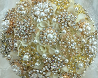 Rose Gold Champagne Brooch Bouquet. FULL PRICE Ivory Champagne Rose gold Silver Classic Rich Bridal Broach Bouquet.