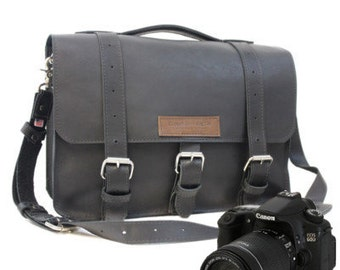 "14"" Black Sonoma Buckhorn Leather Camera Bag - 14-BUC-BL-LCAM"