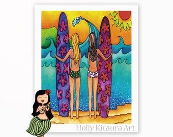 Surf Girls Art Surfing Beach Waves Ocean Hawaii Hawaiian Tropical Print Painting Artist Artwork Waikiki Surfboard Surfer Girl Giclee Holly K