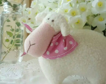 Cotton fabric sheep with sound - handmade kit for beginners
