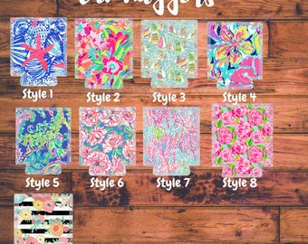 Lilly Pulitzer Inspired Can hugger - Preppy gift - Can hugger - Can holder - Monogram