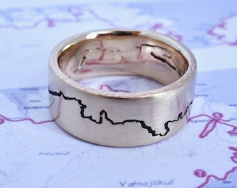 Coastline Ring, 8mm band, Handmade with your choice of Silver, Palladium, Gold or Platinum, Surf Ring, Gold Wedding Ring