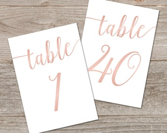 Rose Gold Table Numbers 1-40 // Printable Table Numbers Wedding // Rose Gold Wedding Decor, Instant Download