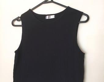 Vintage 1990s Black High Neck Crop Cropped Sleeveless Vest Tank Top Ribbed Print Pattern