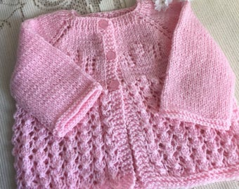 0 to 3 month Baby sweater, Baby Cardigan, Pink baby cardigan, newborn Gift, pink sweater, pink baby sweater, Baby shower gift,