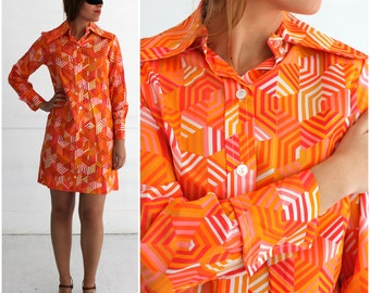 Vintage 1970s Bright Orange Geometric Print Long Sleeve Collar Shirt Dress by Sybil | Medium