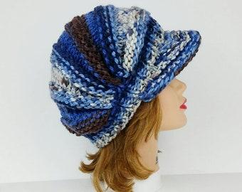 Women's Newsboy Hat, Visor Hat Beanie Cap, Chunky Knit Hat, Women's Hat With Brim, Newsboy Cap In White Brown Blue, Knit Hats For Women