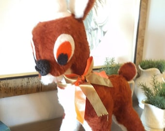 Vintage Rudolph Reindeer ~ Stuffed Christmas Reindeer Toy ~ Retro 50s Deer With Santa Hat