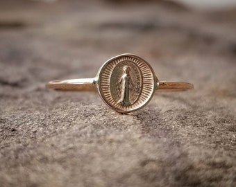 Virgin Mary Ring Miraculous Medal Ring 14K Gold Stacking Ring Rings Virgin Mary Medal Confirmation Gift for Her Communion Religious Jewelry