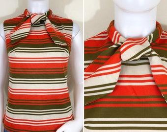 60s 70s Act III Mod Orange Green Striped Tie Neck Sleeveless Top, Size Medium