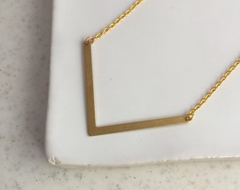 Gold Chevron Necklace - Gold Necklace - Geometric Necklace - V Necklace - Layering Necklace - Triangle Necklace - Everyday Necklace