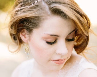 Bridal Headband and Bracelet Gold with Ivory and Blush Pearls and Crystals