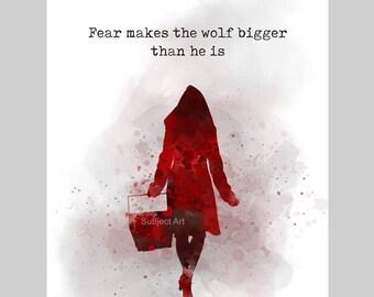 Kleines Bild mit Red Riding Hood Zitat Kunstdruck Illustration, Inspirational, Motivation, Märchen, Wolf, Wandkunst, Wohnkultur, Geschenk