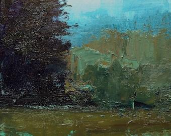 Edge of the Pines. 8X8 Original landscape oil painting. Tonalsm art, Tonalism paintings, Plein air, Fields, Trees.