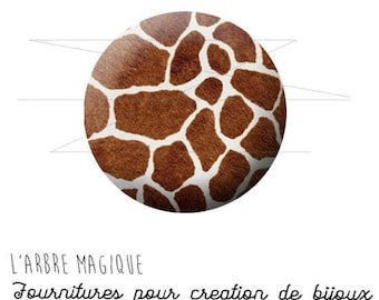 2 cabochons glue giraffe animal skin wild ref 1573 - 18 mm