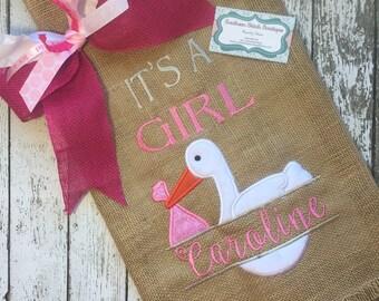 Its A Girl Garden Flag, Burlap flag, Garden flag, garden decor, burlap garden flag, its a girl, baby girl