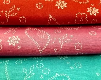 Sew Stitchy by Aneela Hoey for Moda Fabrics.  Three Prints each at 2 yards each.  RARE FIND Total 6 Yards.