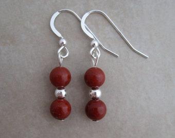 red jasper earrings sterling silver