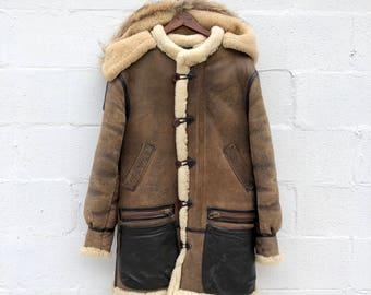 36   SML   Averix B7 Sheepskin Parka Flight Jacket Shearling Hooded Coat