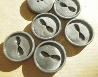 Set of 3 round buttons two holes in plastic, gray, 23 mm diameter