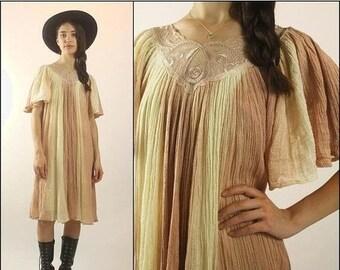 FLASH SALE FLASH Sale Vintage 70s Cotton gauze Ombre Hippie Boho Floral Tent Midi dress Xs S