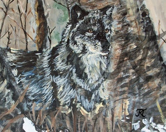 Wolf in the Woods (limited edition digital download of original painting by Bekalyn Craig)