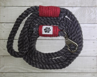Black And Red Cotton Rope Dog Leash - 100% Cotton Rope - Dog Leash - Pet Collars and Leashes