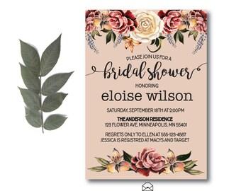 Floral Bridal Shower Invitation | Watercolor Flowers Invitation | Floral Invitation | Shower Invitation | Floral Invite | Flower Invite