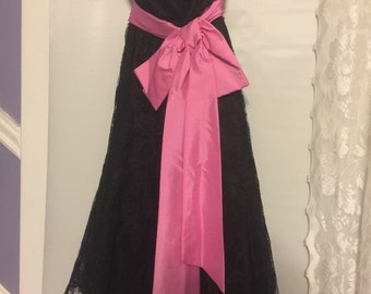 Vintage Alfred Angelo 1980 'S Prom Dress Black Lace & Pink Satin Size XS Beautiful