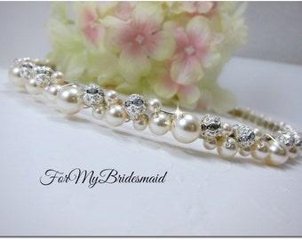 BRIDAL PEARL CROWN, Wedding Pearl Crown, Bridal Pearl headband, Wedding Pearl Tiara, Bridal Pearl Tiara, Wedding pearl headband, bride tiara