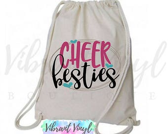 Cheer Besties, Cotton, Simple Cheer Backpack, Custom Natural Drawstring Backpack, Best Friend Bag, Dance Bag, Gym Bag, Personalized