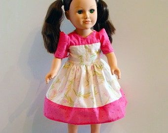 """American Girl Doll & Other 18"""" Dolls' Dress with Bright Pink Border w Soft Green Spring Time Print; School or Dress Up Doll Clothes."""