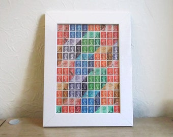Geometric Rainbow Wall Art | Multicolour Boxes Cubes Optical Illusion | Upcycled British Postage Stamp Art Collage | Framed Retro Office Art