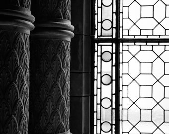 Natural History Museum London Print  - Columns and Window - Architecture Photography - Black and White