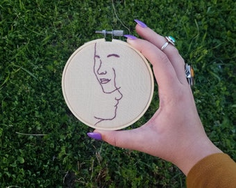 Minimalist Faces Embroidery Hoop Art