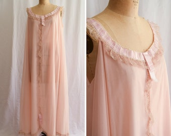 1960s Nightgown | Odette Barsa | Vintage 60s Rose Gold Floaty Full Length Nightgown Romantic Sleepwear Vintage Lingerie XL Bust 44""