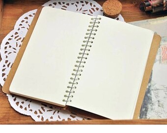 Spiral bound notebook, to personalize, calendar with hardcover style hardcover, travel book, diary, unmarked pages