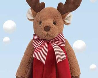 Personalized Baby Security Blanket Reindeer Snuggler Lovie Baby Boy Gift Baby Girl Gift Plush Stuffed Animal with Blanket