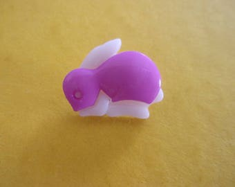 Button shank in the shape of Bunny Pink and white acrylic - 16mm x 18mm